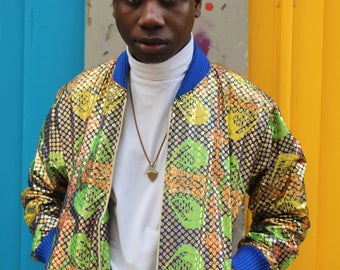 African Bomber Jacket festival fashion Gold Jacket Bohemian Clothing in African Wax Print Festival Jacket Shiny Bomber African Jacket
