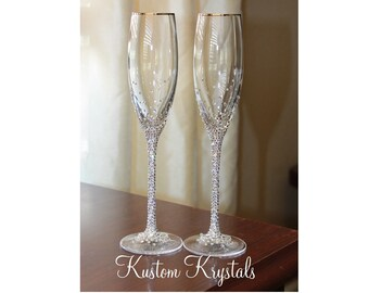 677645467c Custom Swarovski crystal embellished STEM toasting flutes. Lenox Toasting  glasses. Champagne flutes for weddings