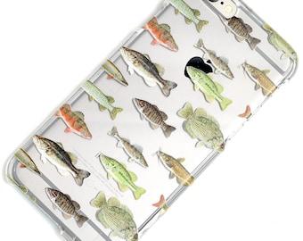 Fish Pattern Transparent Clear Phone Case iPhone 6, 7, SE, 6 Plus, 7 Plus, 6S, 5, 5C, 5S, Galaxy S6, S7, Note 5, Note 7