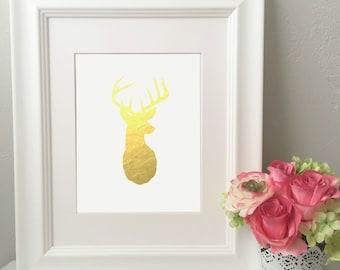 Deer Silhouette Foil Print** Real Gold Foil Print**