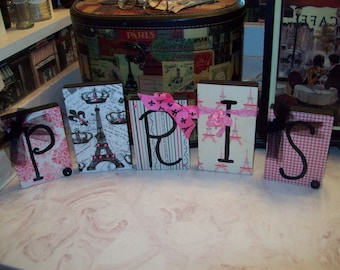 Pink Paris Letter Blocks ,Paris Decor, Paris Theme, Paris Party Decor, Paris