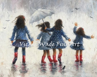 Four Sisters Art Print, four girls in the rain,four sisters in the rain wall art,four daughters painting, sisters,navy blue, Vickie Wade art
