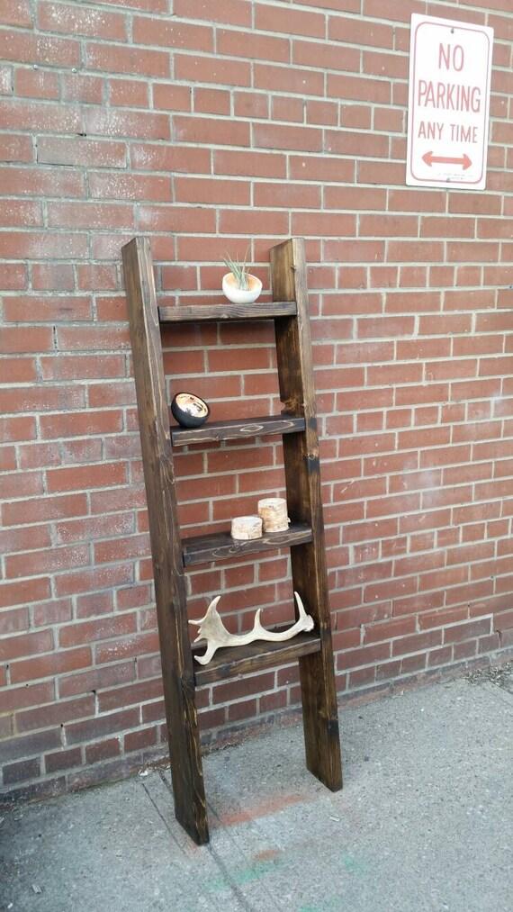 rustic wood ladder shelf freestanding rustic ladder. Black Bedroom Furniture Sets. Home Design Ideas