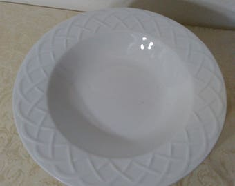 """Set of Eight (8) Soup Bowl in the Picnic Pattern by Oneida - 9"""" - Basic White Elegance"""