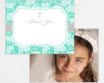 Communion Thank You Card, Photo Communion Thank You, Printable Communion Thank You, Printed Thank Yous, Damask, Tiffany Blue, Floral, Gracie