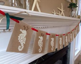 Christmas Decor Seahorse Reindeer Garland Christmas Banner - Beach Christmas - Christmas Decor