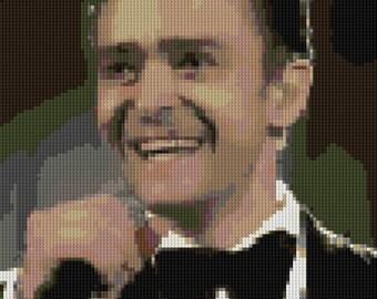 portrait of Justin Timberlake counted Cross Stitch Pattern Iconic Musician Pop Star NSYNC