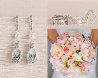 Bridal Earrings, Crystal Bridal earrings, Swarovski Pearl Earrings,  Rose Gold Wedding Jewelry, Bridesmaids, Lilliana Bridal Earrings