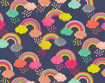 FANTASY Tissu coton patchwork FANTASY Rainbow blue nuit x50cm