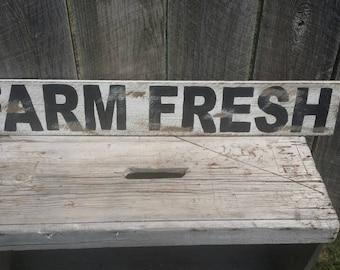 Farm Fresh Rustic Sign, Wood Wall Decor, Distressed Wall Art Farmhouse Kitchen Sign