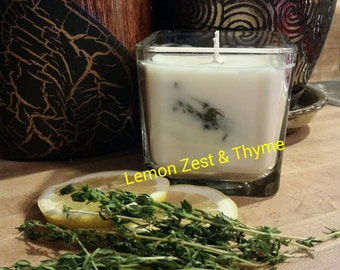 14oz Double Wick 100% SOY Candle in Lemon Zest & Thyme. Made To Order. All Natural. Long Burning and Eco-Friendly.