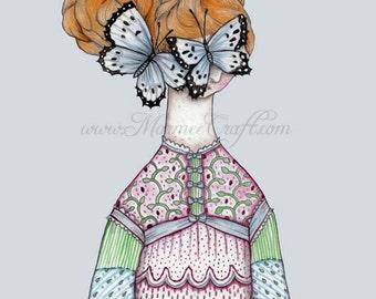 "MarmeeCraft butterfly girl art print, ""With Whisper Hush"""