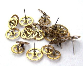 Steampunk Watch Pieces and Parts - 50 small vintage brass watch gears Cogs Wheels
