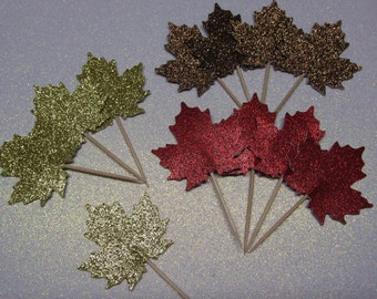 Fall Leaf Cupcake Toppers, Gold, Red & Bronze Glitter, Dessert Bars, Birthday Parties, 12ct Package, Holiday Appetizers,