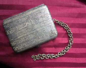 1920s Silver Wristlet Coin Purse and Compact Mirror with Ornate Floral Engravings