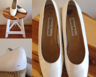 Vintage white leather wedge shoes 80s