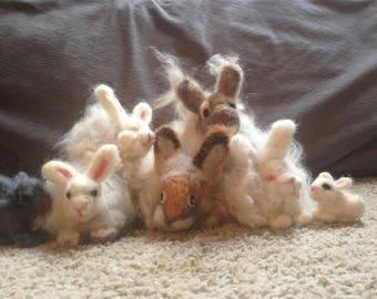 Felted homegrown angora bunny