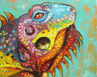 Lizard 7  12x12 inch original oil painting by Roz