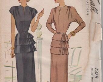 Bust 32-RARE 1948 Misses' Evening Dress McCall 7379 Size 14