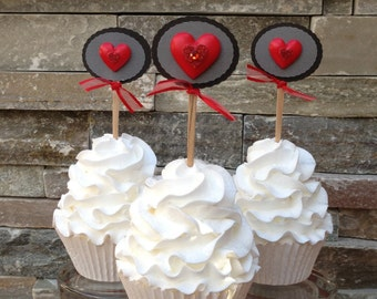 Red Heart Cupcake Topper (Set of 12)