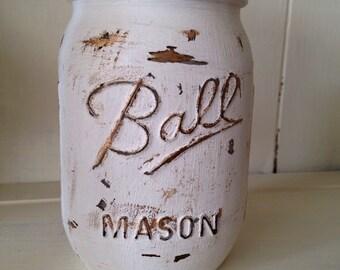 Rustic hand painted mason jar