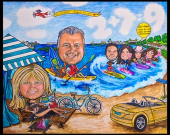 Custom caricature, retirement gift, retirement for women, retirement for men,retirement caricature, retirement cartoon, caricature portrait