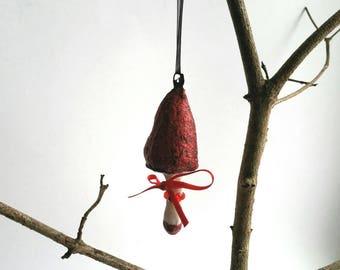 Watte Ornament, Pilz Figur, Watte Figur, Watte Kunst, Glitzer Ornament, Künstler Figur, Original Kunst, roter Hut, Schleife, Sammler Figur