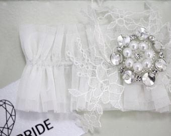 White Wedding garter 2018, White Wedding garter, White bridal garter, White bridal garters, White Tulle Bridal Garter, White Bridal Garter
