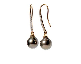 18k Tahitian Pearl Diamond Drop Earrings