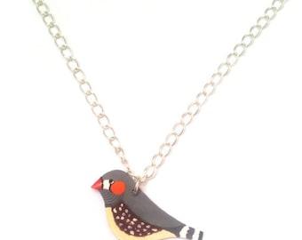 Zebra Finch Necklace, Bird Necklace, Handmade, Spring, Jewelry, Wearable Art, Shrink Plastic jewellery, bird lover