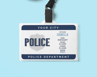 Play Police Officer Name Badge Printable   Personalized ID Card   Pretend Play   Police Birthday Party Printables   EDITABLE DOWNLOAD
