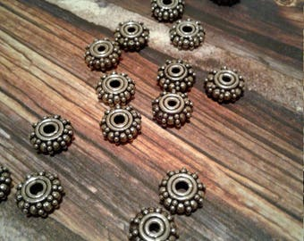 8mm Sterling Silver Bali Spacer Beads , Silver Bali Beads, Oxidized, 4 beads in a set