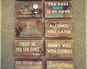 Mini Bar Signs. Funny alcohol signs. Wood wall signs. Wood signs for shelf. Wood bar signs. Small wood homemade signs. Painted wood signs