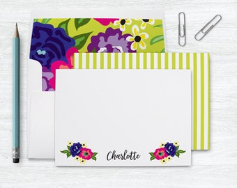 Personalized Stationery Woman, Mom Personalized Stationary, Personalized Notecards for Women, Floral Note Cards Personalized Gift