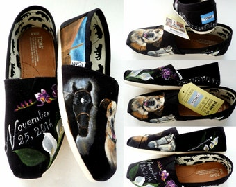 Bride's Love Story Shoes Black Wedding Shoes Pet Wedding Flats Wedding TOMS Unique Wedding Shoes Painted Wedding Shoes TOMS Gift for Bride