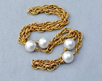 Napier Faux Pearl and Chain Chunky Necklace Vintage