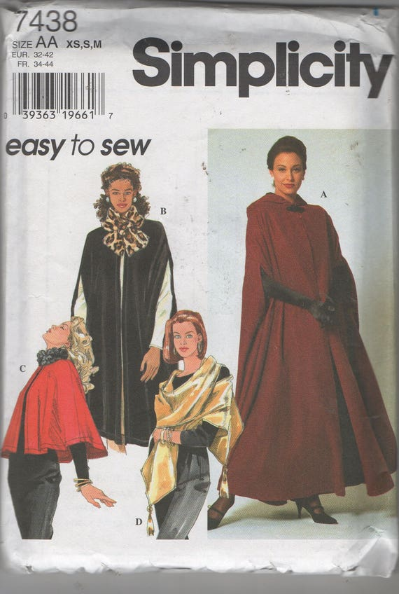 Misses Capes and Wrap Sewing Pattern Vogue 7438 Size 6