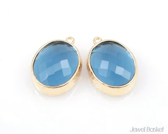 Montana Blue Color and Gold Framed Glass Oval Pendent - 2pcs Montana Blue Glass Pendant 12 x 16mm, Earrings Jewelry Pendant / SMBG009-P