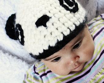 6 to 12m Panda Bear Hat Baby Crochet Animal Hat Crochet Panda Baby Hat Black Off White Panda Hat Baby Photo Prop