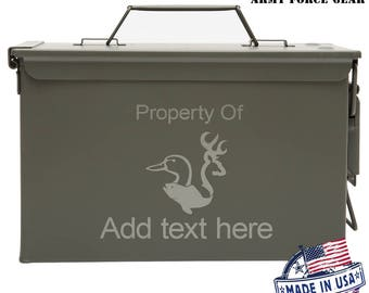 Duck Fish Deer Custom Engraved 30/50 Cal Ammo Can Personalized Dad Gift Cool Guy Gifts Father's Day Gift Grandpa Gift Groomsmen Hunter