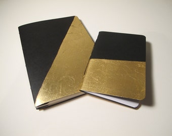 Black and Gold Journal Notebook, Set of Two Gold Metallic Journals, Gold Metallic, Handmade Books, Lined Notebooks, Modern Art Deco Journals