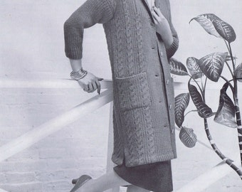 Long Cardigan with Cables Vintage Knitting Pattern PDF,  1950s