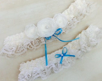 Bridal Garter, Wedding Garter, White Flowers with Pearls Something Blue on White Lace