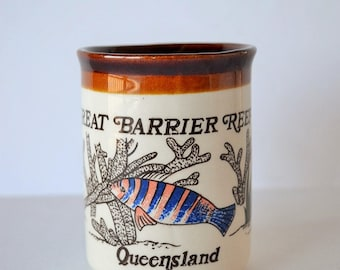 Vintage Queensland, Australia Great Barrier Reef Ceramic Coffe Cup, Mug with Coral & Fish