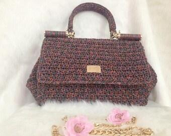 Crocheted bag-Handmade bag-crochet small bag-bag-bag-box bag - MTmini 14