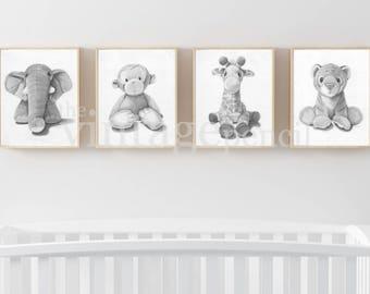 Pépinière imprimés, impression de Safari de chambre de bébé, bébé animaux impressions, Safari Wall Art, Animal imprime pour chambre d'enfant, Zoo Animal crèche, Nursery décor