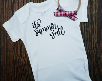 It's summer y'all onesie with picnic ants handtied bow nylon headband baby girl