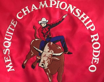 Satin Rodeo Baseball Jacket Mesquite Championship Rodeo Bullrider Cowboy Vintage sz Medium