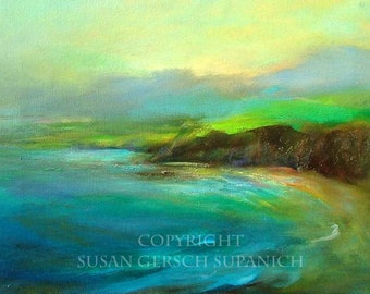 "Art Print  ""Irish Seacoast"" colorful waterscape painting 11 x 14  Susan Gersch Supanich"