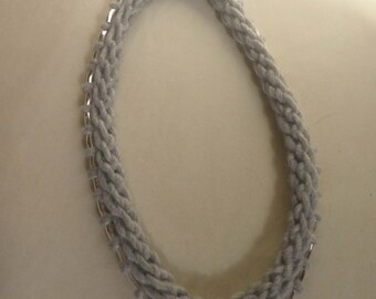 Soft handknit necklace with Silver Bead accents, Gray silver and black